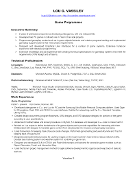 resume for programmer cipanewsletter example resume game programmer resume pdf file