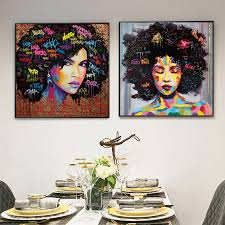 Modern <b>Pop Art Canvas Painting</b> Explosive Afro Hairstyle African ...