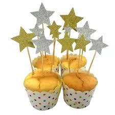 6 <b>pcs</b>/<b>lot</b> Cake Topper Picks Glitter Gold Silver <b>Star</b> Cupcake ...