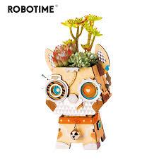 Robotime Children Adult <b>Cute Puppy Flower</b> Pot 3D Wooden Puzzle ...