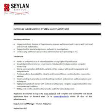 for internal information system audit assistant at seylan bank vacancy for internal information system audit assistant at seylan bank