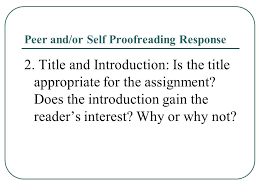 how to write an excellent ap english language and composition    peer and or self proofreading response   title and introduction  is the title