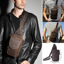 Men's Leather Chest Cycle Sling Pack Satchel Shoulder <b>Bag</b> Small ...