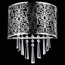 picture of 12 drago modern crystal round laser cut stainless steel shade black fabric wall black fabric lighting