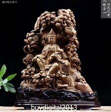 <b>Wooden Kwan-yin</b> Yellow Antique Chinese Figurines & Statues for ...