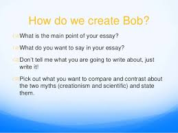 bob the thesis statement  compare and contrast essay
