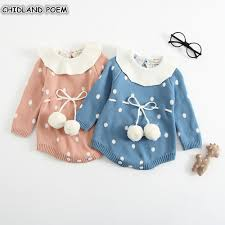 <b>Baby Knitted Clothes Newborn Baby Girls</b> Romper Long Sleeve ...