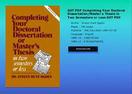 GET PDF Complete Your Dissertation or Thesis in Two Semesters or     Yumpu
