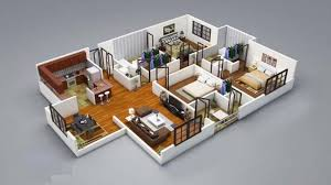 small house plan three bedrooms d bedroom house plans        Apartment House Plans   Futura Home Decorating home designs for living spaces   bedrooms   d detailed floor