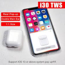 <b>I30 TWS</b> Pop-up 1:1 Size Copy Wireless <b>Bluetooth 5.0</b> Earphone Pk ...