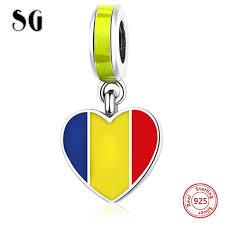 <b>SG</b> Silver 925 Original Antique Romanian flag Charms <b>Beads</b> with ...