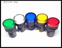 <b>Yellow</b> LED Flush Panel Mount <b>22mm AD16</b>-22D/S <b>3Pcs</b> Bookh AC ...
