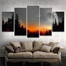 BOYH <b>Modular</b> Canvas <b>Pictures</b> Wall Art Framed <b>5 Pieces</b> Star Wars ...