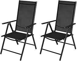 vidaXL 2x Folding <b>Garden Chairs</b> Aluminium Black Outdoor Patio ...