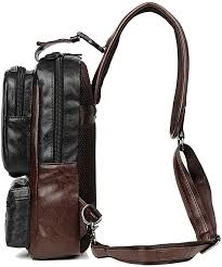 <b>Men</b> Vintage PU Leather CrossBody Sling Bag <b>Large Capacity</b>