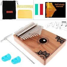 Flowers <b>Pattern 17 Key Kalimba</b> Elk Sound Hole Single Board ...