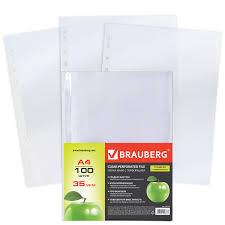 Купить <b>Папки</b>-файлы перфорированные, <b>А4</b>, <b>BRAUBERG</b> ...