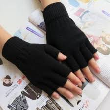 <b>1 Pair Men</b> Women Fingerless Winter Warmer Mittens Black Stretch ...