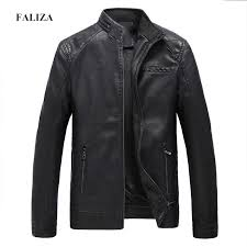 FALIZA Winter Spring <b>Mens Pu Leather Jackets</b> Faux Leather Jacket ...