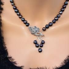 Black pearls lariat statement <b>necklace</b>, <b>Freshwater</b> pearls luxury ...