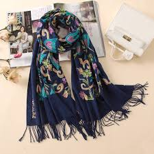 2019 designer quality embroidery cashmere <b>scarves vintage</b> winter ...
