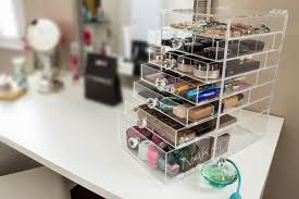 plastic makeup organizer put bathroom: clear acrylic makeup organizer deluxe w diamond handle drawers amp dividers cutie cube luxe cosmetic storage box