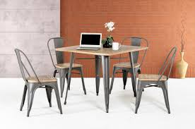 chair dining tables room contemporary: t  modern grey metal and wood square dining table
