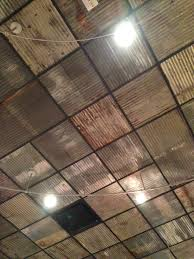 Ceiling Tiles For Kitchen Replace Boring Ceiling Tiles With Rusty Corrugated Metal Nice
