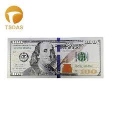 US $100 Dollar Silver Foil <b>Banknote</b> Bill <b>Colored</b> Gold <b>Banknote</b> ...
