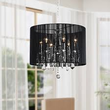chrome and black 6 light crystal chandelier black crystal chandelier lighting