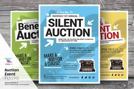 auction event flyer templates flyer templates on creative market