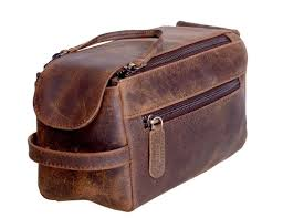 KOMALC <b>Genuine</b> Buffalo Leather Unisex Toiletry Bag Travel Dopp ...