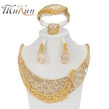 <b>MUKUN</b> Latest Trendy African Beads Jewelry Sets Gold Color Dress ...
