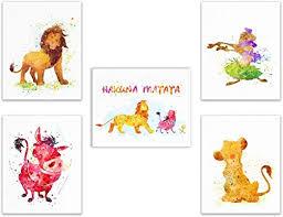 Lion King Disney Watercolor Wall Art Prints- Set of 5 ... - Amazon.com