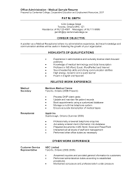 sample resume for hospital administrative assistant cipanewsletter cover letter administration resume example healthcare