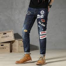 New ripped jeans for men spliced painted skinny stretch slim ...