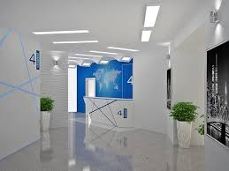 multiple blue office decor