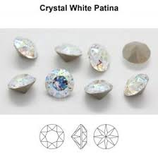 Swarovski 1088 XIRIUS Chaton SS39 (8.3mm) Crystal <b>White</b> Patina ...