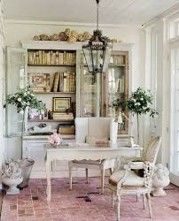 chic home office decor: an exterior lighting fixture such as this hanging lantern makes an excellent chandelier choice in a shabby chic space like this home office