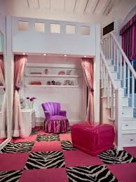 captivating teenage girl bedroom furniture with white loft bed along storage white shelves also pink curtain black and pink bedroom furniture