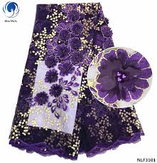<b>Beautifical</b> Purple <b>french lace fabrics</b> Laser embroidery design 3d ...