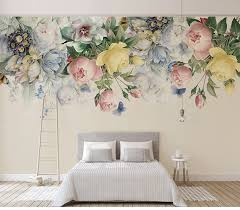 <b>Custom</b> Size 3D <b>Mural</b> Wallpaper European Style Floral Living ...