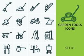 Garden tools and machinery icons   Векторная графика, Графика