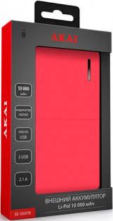 <b>Внешний аккумулятор</b> Akai BE-10001B 10000mAh <b>Red</b> - цена на ...