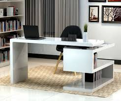 stunning modern home office desks with unique white glossy desk plus open bookshelf with black chair unique design home office desk full