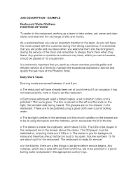 description examples cv template sample waiter job description