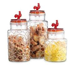 sets kitchen canisters food storage containers food storage rooster canisters set of three  round clear glass hermeti