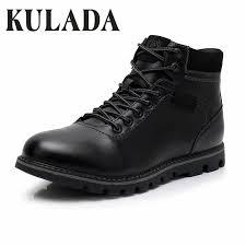 <b>KULADA</b> Men's Boots Super Warm Black Leather <b>Snow Boots</b> ...