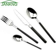 JANKNG <b>4 Pcs Lot</b> Black Handle Flatware Sets Thick <b>Stainless</b> Steel ...