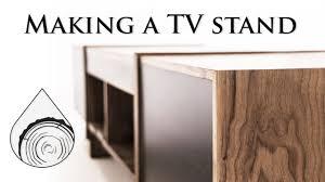 Making walnut <b>TV stand with</b> waterfall effect